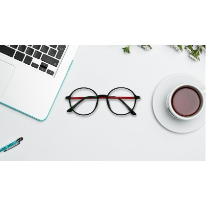 CASUAL ROUND SPECTACLES FOR UNISEX (RED FRAME)
